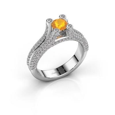 Verlobungsring Stefanie 2 585 Weißgold Citrin 5 mm