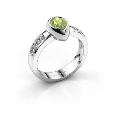 Foto van Ring Charlotte Pear 585 witgoud peridoot 8x5 mm