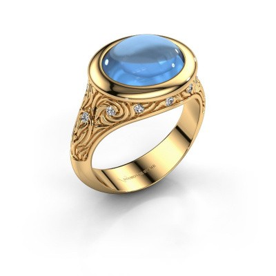 Bague Natacha 585 or jaune topaze bleue 12x10 mm