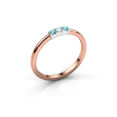 Engagement ring Yasmin 3 585 rose gold aquamarine 2 mm