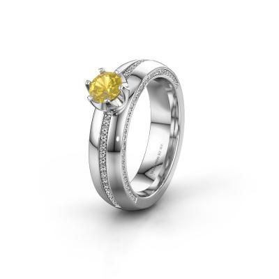 Huwelijksring WH0416L25E 925 zilver gele saffier ±5x2.6 mm