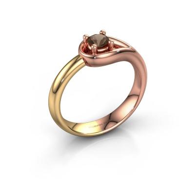 Ring Fabienne 585 rosé goud rookkwarts 4 mm
