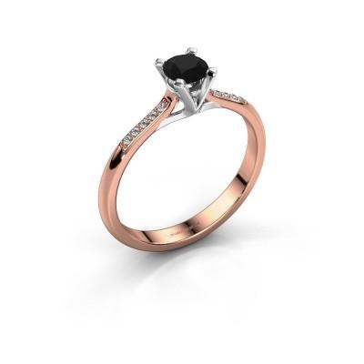 Foto van Aanzoeksring Isa 2 375 rosé goud zwarte diamant 0.36 crt