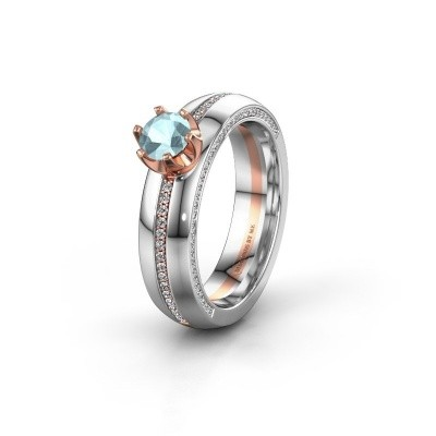 Weddings ring WH0416L25E 585 rose gold aquamarine ±5x2.6 mm