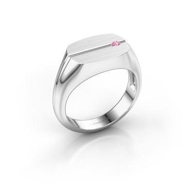 Bild von Herren ring Stijn 375 Weißgold Pink Saphir 2 mm