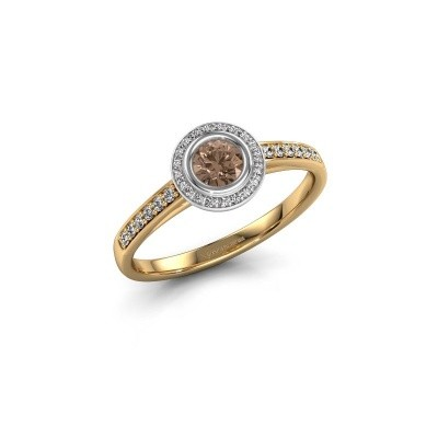 Engagement ring Noud 2 RND 585 gold brown diamond 0.39 crt