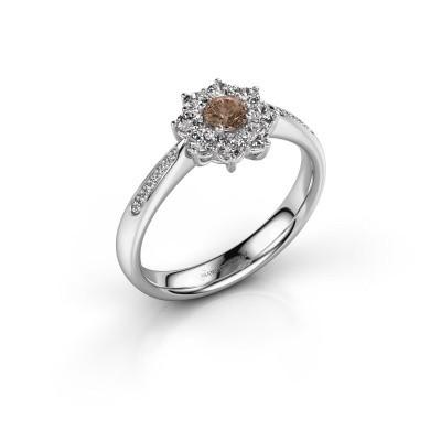 Foto van Verlovingsring Carolyn 2 950 platina bruine diamant 0.15 crt