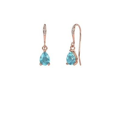 Picture of Drop earrings Laurie 2 375 rose gold blue topaz 7x5 mm