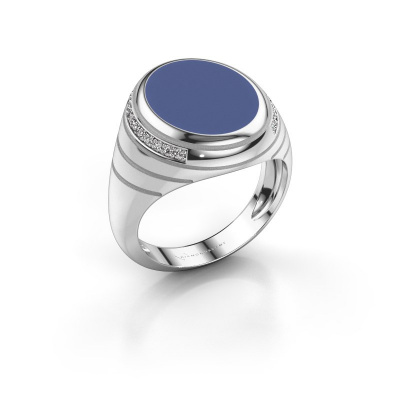 Zegelring Luuk 950 platina blauwe emaille 15x12 mm
