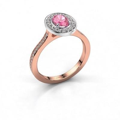 Ring Madelon 2 585 rosé goud roze saffier 7x5 mm