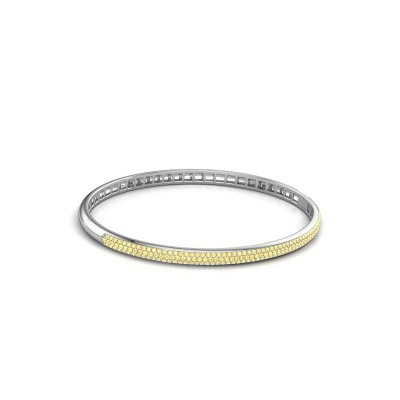 Slavenarmband Emely 4mm 585 witgoud gele saffier 1.1 mm