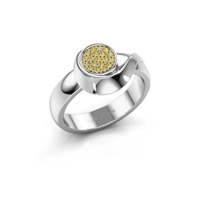 Ring Kimber 950 platina gele saffier 1 mm