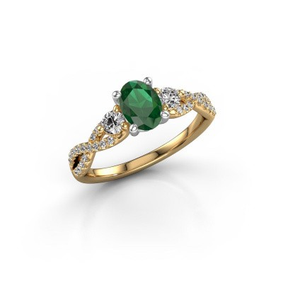 Picture of Engagement ring Marilou OVL 585 gold emerald 7x5 mm