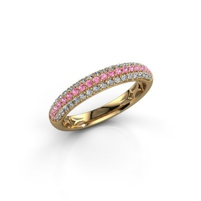 Foto van Ring Emely 2 375 goud roze saffier 1.3 mm