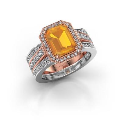 Foto van Ring Dodie 3 585 rosé goud citrien 9x7 mm