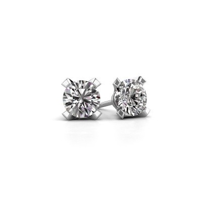 Photo de Clous d'oreilles Isa 585 or blanc diamant 0.10 crt