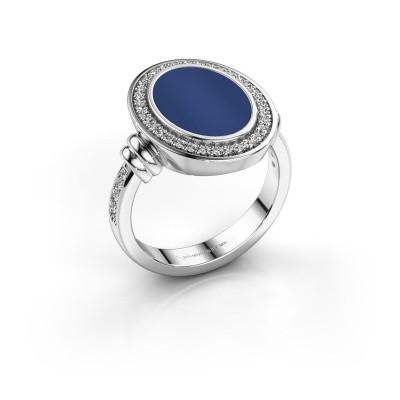 Foto van Zegelring Cristina 950 platina lapis lazuli 14x10 mm