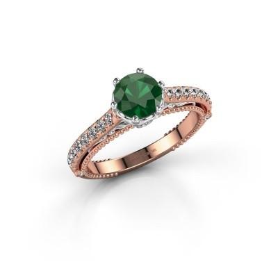 Verlovingsring Venita 585 rosé goud smaragd 6.5 mm