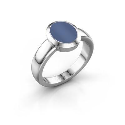 Zegelring Oscar 1 F 950 platina blauw lagensteen 10x8 mm