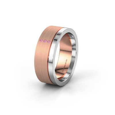 Wedding ring WH0325L17APM 585 rose gold pink sapphire ±0.28x0.07 in