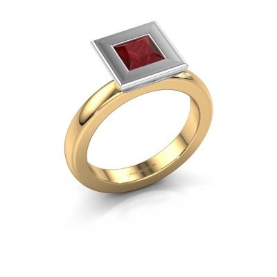Stapelring Eloise Square 585 goud robijn 5 mm