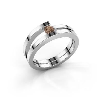 Ring Sandy 585 witgoud bruine diamant 0.15 crt