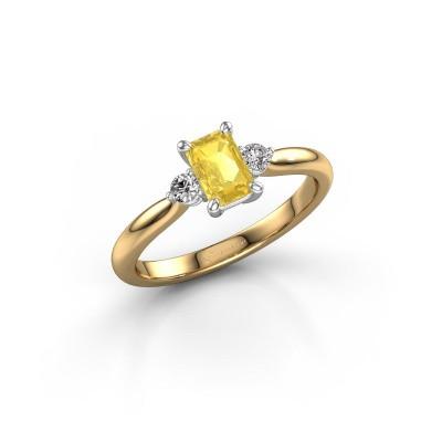 Foto van Verlovingsring Lieselot EME 585 goud gele saffier 6x4 mm