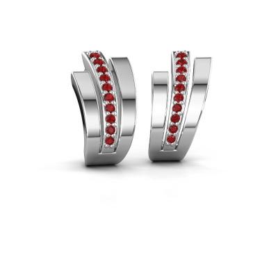 Oorbellen Emeline 925 zilver robijn 1.1 mm