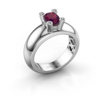 Ring Cornelia Oval 925 Silber Rhodolit 7x5 mm