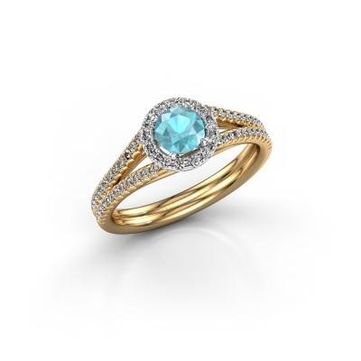 Verlovingsring Verla 2 585 goud blauw topaas 4.7 mm