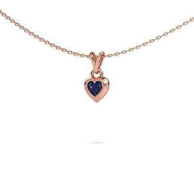 Foto van Hanger Charlotte Heart 375 rosé goud saffier 4 mm