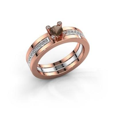 Foto van Ring Alisha 585 rosé goud rookkwarts 4 mm