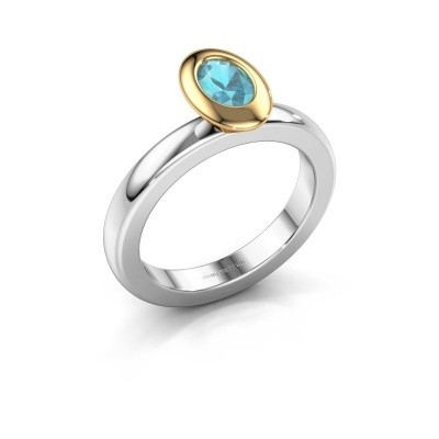 Stapelring Trudy Oval 585 witgoud blauw topaas 6x4 mm