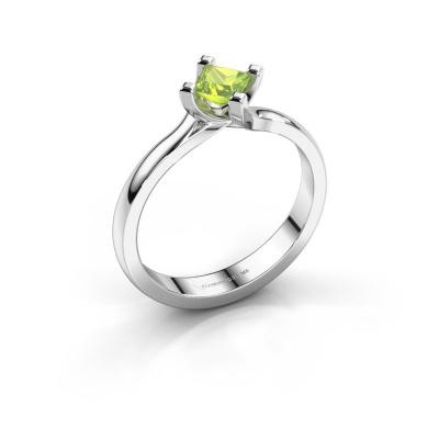 Engagement ring Dewi Square 950 platinum peridot 4 mm