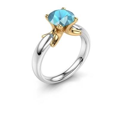 Ring Jodie 585 white gold blue topaz 8 mm