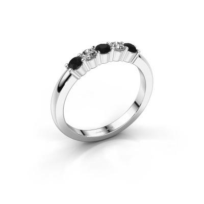 Foto van Verlovingsring Yasmin 5 585 witgoud zwarte diamant 0.56 crt