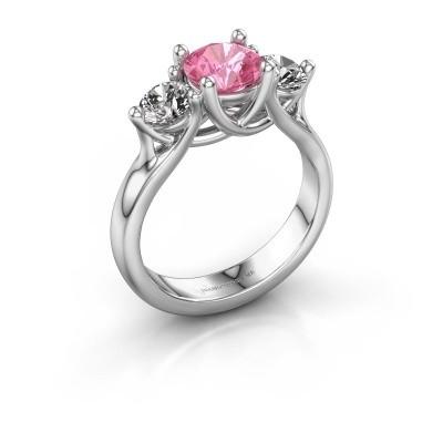 Verlovingsring Esila 585 witgoud roze saffier 6.5 mm