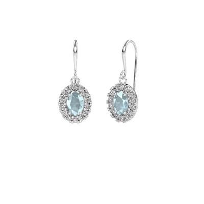 Drop earrings Jorinda 1 375 white gold aquamarine 7x5 mm