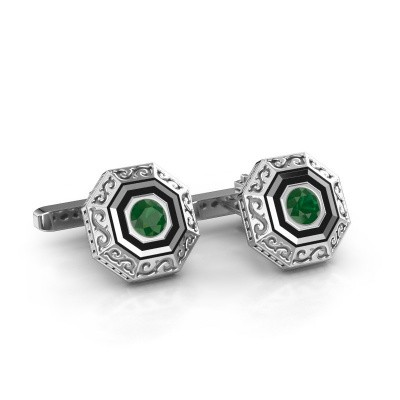 Cufflinks Dion 375 white gold emerald 5 mm