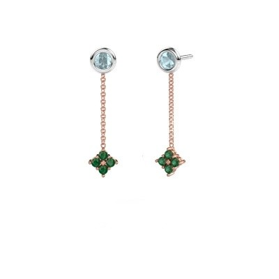 Picture of Drop earrings Ardith 585 rose gold emerald 2 mm