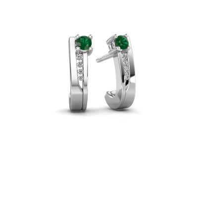 Oorbellen Jewell 950 platina smaragd 2.7 mm