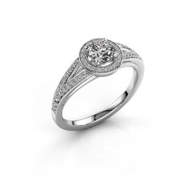 Aanzoeksring Angelita RND 585 witgoud diamant 0.578 crt