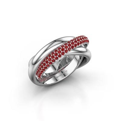 Foto van Ring Trinity 2 925 zilver robijn 1 mm
