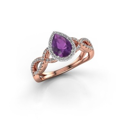 Engagement ring Dionne pear 585 rose gold amethyst 7x5 mm
