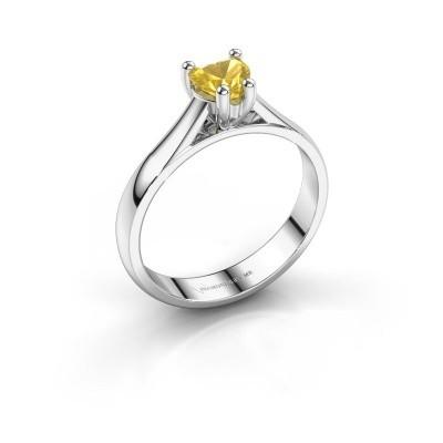 Verlobungsring Sam Heart 585 Weißgold Gelb Saphir 5 mm