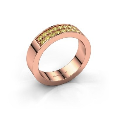 Stackable ring Catharina 5 375 rose gold yellow sapphire 1.7 mm