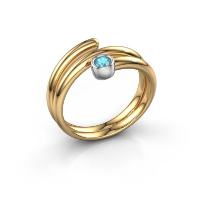 Ring Jenna 585 goud blauw topaas 3 mm