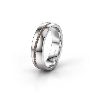Wedding ring WH0109L25A 375 white gold brown diamond ±5x1.7 mm