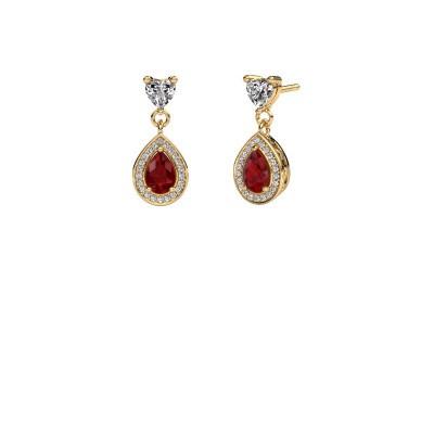 Drop earrings Susannah 375 gold ruby 6x4 mm