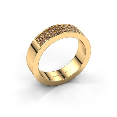 Stackable ring Catharina 5 375 gold brown diamond 0.32 crt